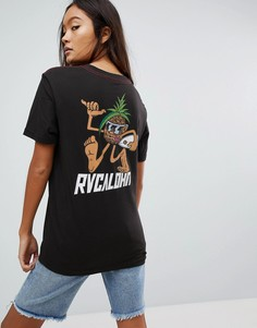 Футболка бойфренда с принтом RVCA - Черный