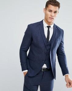 Приталенный пиджак с добавлением итальянской шерсти Selected Homme - Синий