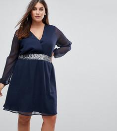 Платье с прозрачными рукавами и отделкой на талии Junarose - Синий