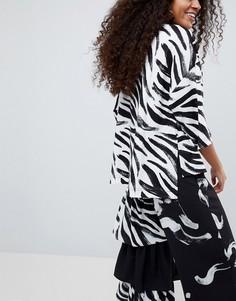 Оверсайз-футболка с принтом зебра ASOS Made In Kenya - Мульти