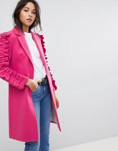 Пальто с оборками на рукавах Miss Selfridge - Мульти
