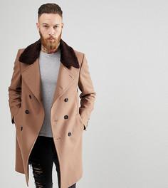 Двубортное пальто с добавлением шерсти и отделкой из искусственного меха Heart & Dagger - Рыжий