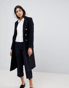 Двубортное пальто в стиле милитари с добавлением шерсти Helene Berman - Темно-синий