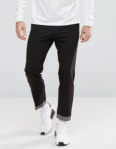 Черные укороченные строгие брюки скинни с необработанным краем ASOS - Черный