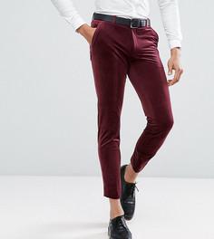 Бордовые бархатные укороченные брюки скинни ASOS TALL - Красный