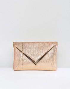 Клатч-конверт цвета розового золота Dune - Золотой