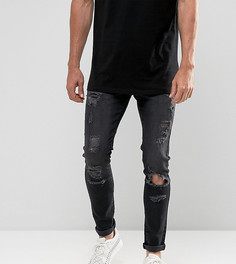 Черные выбеленные джинсы скинни с рваной отделкой Brooklyn Supply Co - Черный