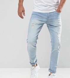 Светлые узкие джинсы с потертостями Brooklyn Supply Co - Синий