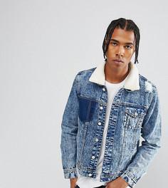 Выбеленная джинсовая куртка с рваной отделкой и искусственным мехом Brooklyn Supply Co - Синий