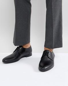 Черные дерби из телячьей кожи со шнуровкой и тиснением HUGO - Черный
