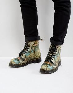 Ботинки с принтом и 8 парами люверсов Dr Martens William - Мульти