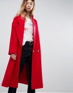Пальто с большим воротником ASOS - Красный