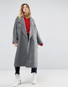 Пальто в полоску с большим воротником ASOS - Серый