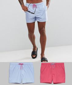 2 коротких шортов для плавания (розовые/голубые) ASOS - СО СКИДКОЙ - Мульти