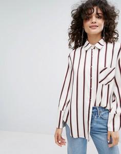 Рубашка с широкими манжетами и завязкой EVIDNT - Белый