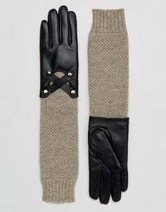 Кожаные перчатки с вязаными манжетами Barneys - Черный Barneys Originals