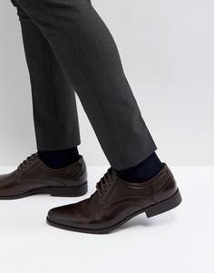 Коричневые туфли из искусственной кожи на шнуровке с тиснением ASOS - Коричневый