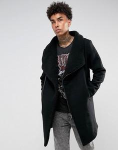 Черное шерстяное пальто на подкладке из искусственного меха Black Kaviar - Черный