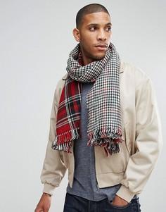 Двусторонний красный шарф в клетку 7X - Красный