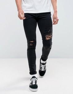 Черные зауженные джинсы с рваной отделкой Jack & Jones Intelligence - Черный