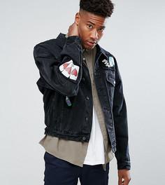 Черная джинсовая оверсайз-куртка с нашивками ASOS TALL - Черный