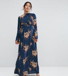 Платье макси с длинными рукавами и принтом ASOS Maternity PETITE - Мульти