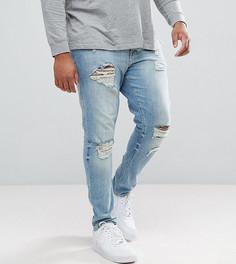 Светлые джинсы скинни с рваной отделкой ASOS PLUS - Синий