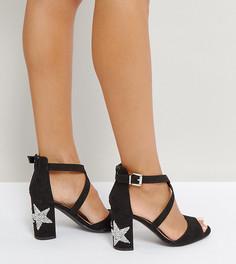 Босоножки на каблуке со звездочками Qupid - Черный