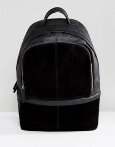 Черный кожаный рюкзак с замшевыми вставками ASOS - Черный