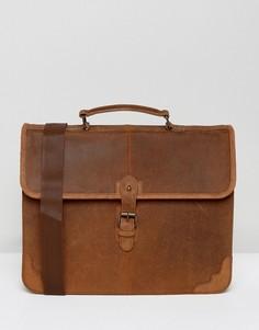 Светло-коричневый кожаный портфель ASOS - Рыжий
