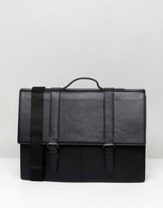 Черный кожаный портфель ASOS - Коричневый