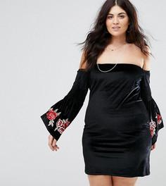 Платье с вышивкой на рукавах Club L Plus - Черный