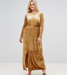 Платье макси с запахом и поясом Club L Plus - Желтый