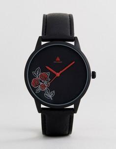 Черные часы с темным цветочным узором ASOS - Черный