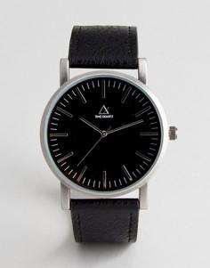 Часы с серебристым корпусом и черным ремешком из искусственной кожи ASOS - Черный