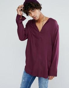 Длинная вискозная рубашка классического кроя с V-образным вырезом ASOS - Фиолетовый