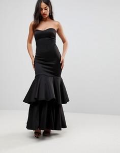 Платье-бандо макси на выпускной Club L - Черный