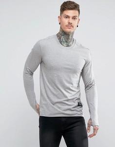 Облегающая футболка с длинным рукавом и прорезами для большого пальца Religion - Серый