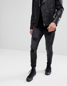 Джинсы скинни со вставками и рваной отделкой Religion Jeans - Черный