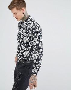 Черная узкая рубашка с принтом роз Devils Advocate - Черный