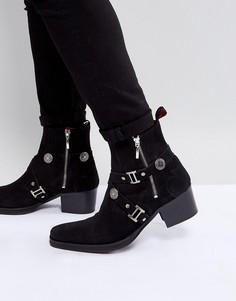Черные замшевые ботинки с пряжками Jeffery West - Черный