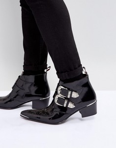 Черные замшевые ботинки с пряжкой Jeffery West - Черный
