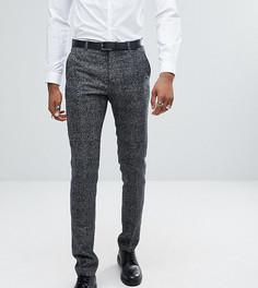 Черно-белые брюки слим в клеточку с добавлением шерсти ASOS TALL - Черный