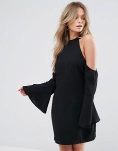 Свободное платье мини с вырезами на плечах Wyldr - Черный
