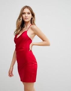 Атласное платье-комбинация с драпировкой Wyldr Supersticious Corvette - Красный