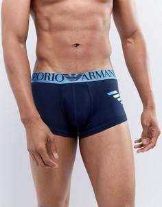 Темно-синие боксеры-брифы с большим логотипом металлик Emporio Armani - Темно-синий