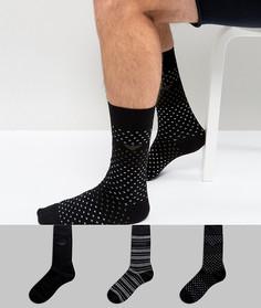 Набор из 3 пар черных носков с логотипом Emporio Armani - Черный