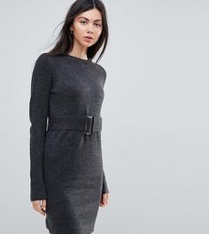 Трикотажное платье мини с поясом ASOS TALL - Серый