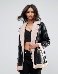 Полиуретановая куртка с подкладкой из искусственного меха и молниями Goldie Phoenix - Черный