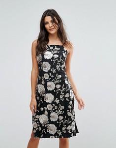 Платье миди с блестящими цветами из пайеток Goldie - Мульти